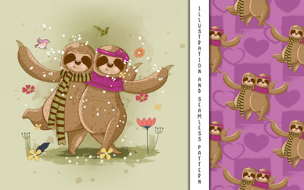 Cute hand drawn cartoon sloth couple. print, baby shower