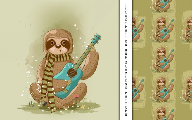 Cute hand drawn cartoon sloth playing guitar. print, baby shower