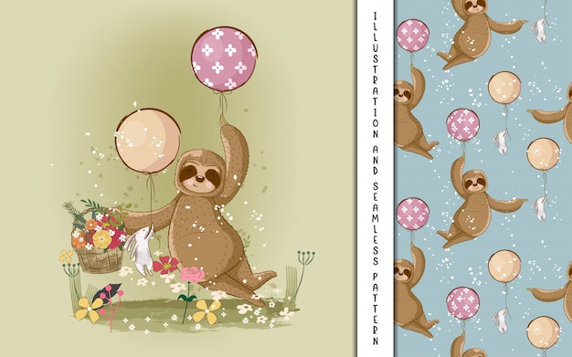 Cute hand drawn cartoon sloth. print, baby shower