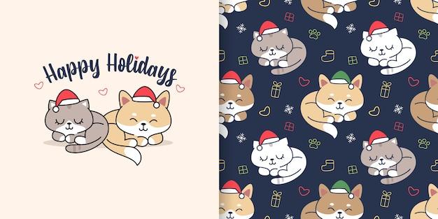귀여운 손 그려진 된 고양이 강아지 원활한 패턴