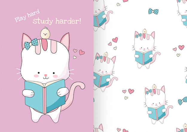 Cute hand drawn cat reading book with seamless pattern set.