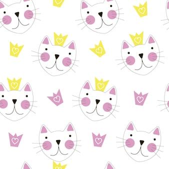 왕관 원활한 패턴 배경으로 귀여운 손으로 그려진된 고양이