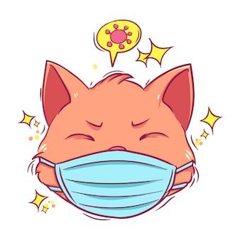 Симпатичная рисованная кошка с маской