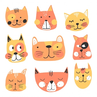 Cute hand drawn cats faces