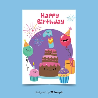 Cute hand drawn characters first birthday card template