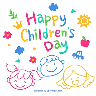 Cute hand drawn childrens day design