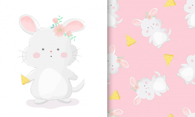 Cute hand drawn chinchilla with piece of cheese with seamless pattern set vector