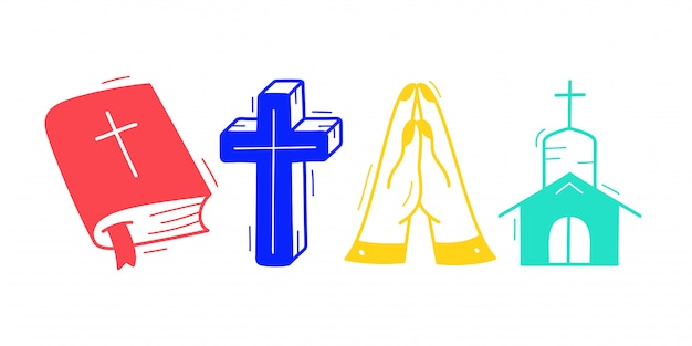 격리 된 흰색 배경에서 귀여운 손으로 그린 기독교 테마 낙서 모음.