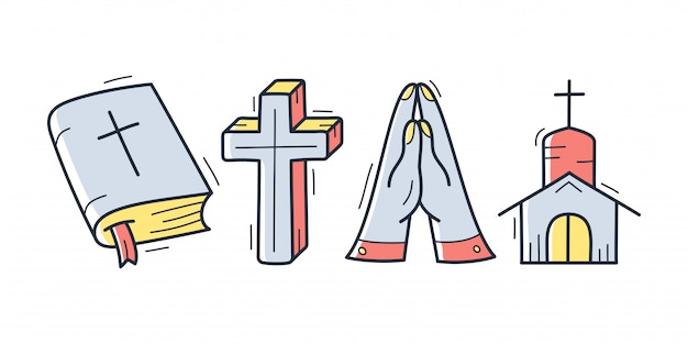 Cute hand drawn christian theme doodle collection in white isolated