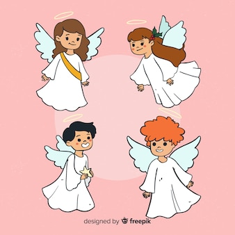 Cute hand drawn christmas angels character collection