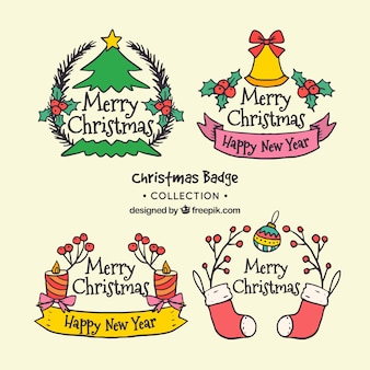 Cute hand drawn christmas bagde collection