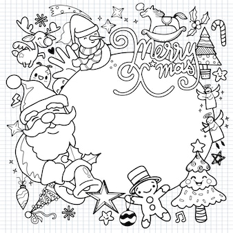Cute hand drawn christmas doodles illustration of doodle christmas character on circle drawing of village or city