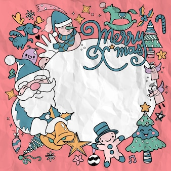 かわいい手描きのクリスマス落書き円上の落書きクリスマスキャラクターのイラスト村や都市の描画