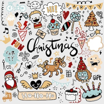 Cute hand drawn christmas doodles,  set of christmas design element in doodle style,sketchy  hand drawn doodle cartoon set of objects  on the merry christmas theme ,each on a separate layer.