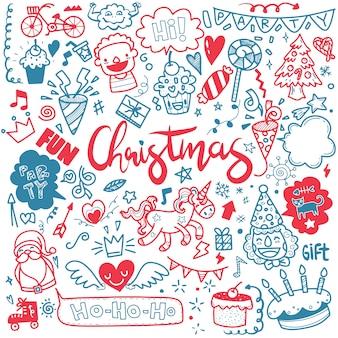 かわいい手描きのクリスマスの落書き、落書きスタイルのクリスマスデザイン要素のセット、メリークリスマスをテーマにしたオブジェクトの大ざっぱな手描きの落書き漫画セット、それぞれ別のレイヤーに。