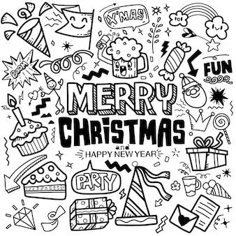 かわいい手描きのクリスマス落書きセット落書きスタイルのクリスマスイラスト大ざっぱな手描き落書き漫画メリークリスマスをテーマにしたオブジェクトのセット