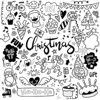 かわいい手描きのクリスマス落書きセット