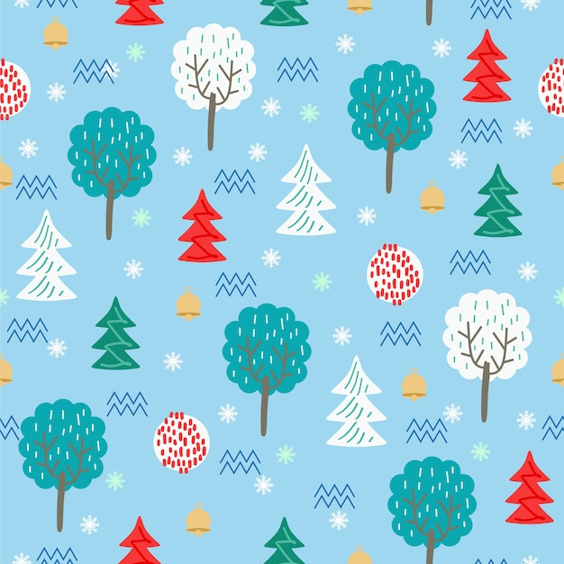 Cute hand drawn christmas floral seamless pattern