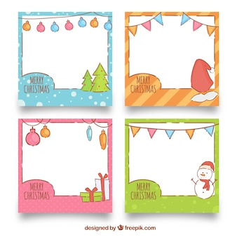 Cute hand drawn christmas frame collection