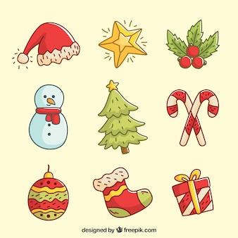 귀여운 손으로 그린 크리스마스 장식품