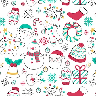 Cute hand-drawn Christmas pattern with different elements