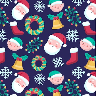 Cute hand-drawn Christmas pattern with Santa Claus