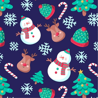 Cute hand-drawn christmas pattern with snowman and reindeer