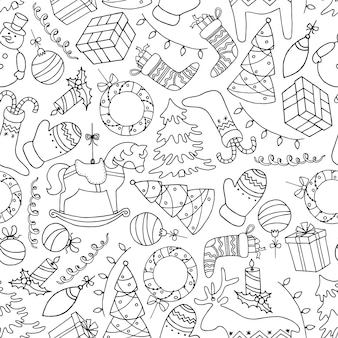 Cute hand drawn christmas seamless pattern in doodle style.