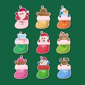 귀여운 손으로 그린 크리스마스 양말 스티커 라벨 장식품 컬렉션