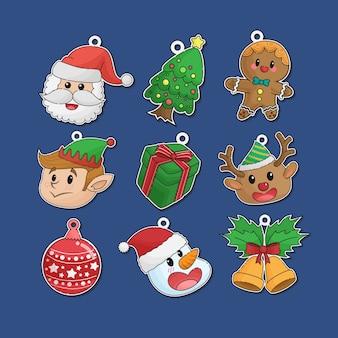 귀여운 손으로 그린 크리스마스 스티커 라벨 장식품 컬렉션