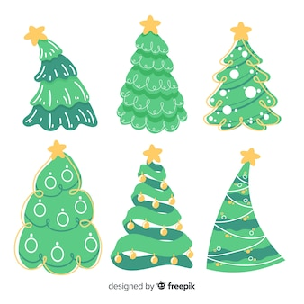 Cute hand drawn christmas tree collection