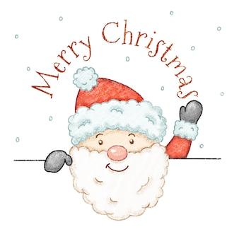 귀여운 손으로 그린 크레용 스타일 크리스마스 산타 클로스