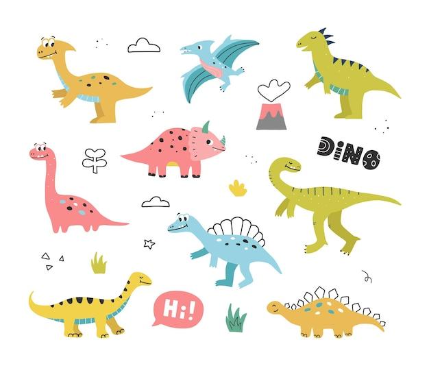 Симпатичные рисованной динозавров, тропических растений и надписи. коллекция дино в стиле каракули. векторная иллюстрация для детей.