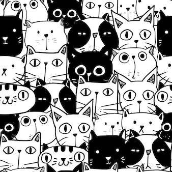 Cute hand drawn doodle cat seamless pattern