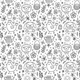 귀여운 손으로 그린 낙서 부활절 토끼, 꽃, 부활절 달걀으로 완벽 한 패턴입니다.