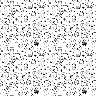 Cute hand drawn doodle easter seamless pattern with bunnies, flowers, easter eggs.