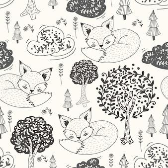 Cute hand drawn doodle fox sleeping seamless pattern