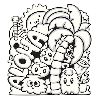 Cute hand drawn doodle monster