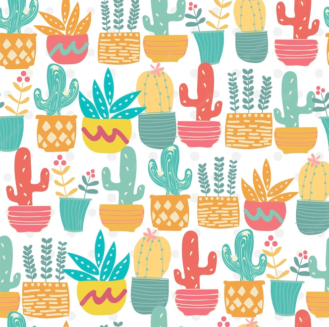 Cute hand drawn doodle pastel cactus pattern seamless