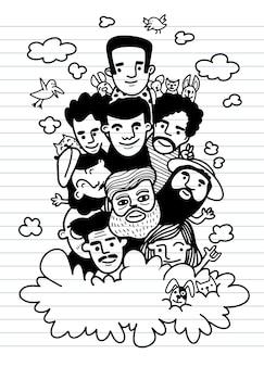 かわいい手描き落書き、顔の人々は面白い人々のイラストの群衆をスケッチします