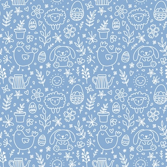 Cute hand drawn easter seamless pattern with bunnies, flowers, easter eggs. beautiful blue and white background for cards, banner, textiles