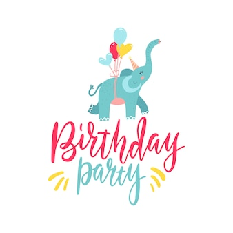 Cute hand drawn elephant flying on balloons isolated on white background. lettering text birthday party design element