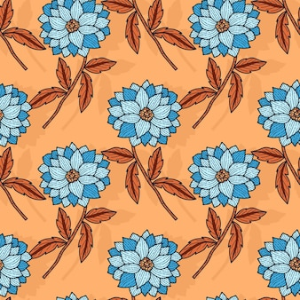 Cute hand drawn floral pattern in blue flowers