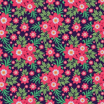Cute hand drawn floral pattern in pink flowers