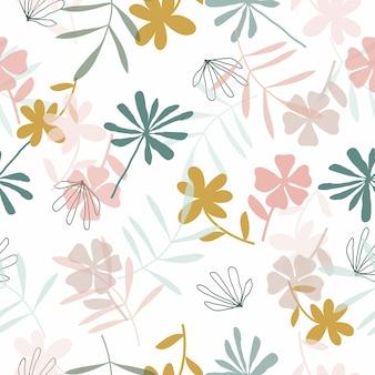 かわいい手描き花柄