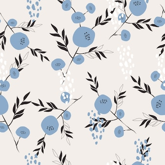 Cute hand drawn floral surface seamless pattern