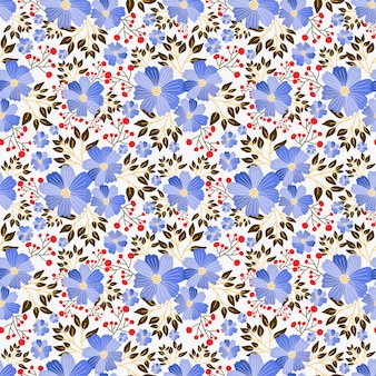 Cute hand drawn florals seamless repeat  pattern design