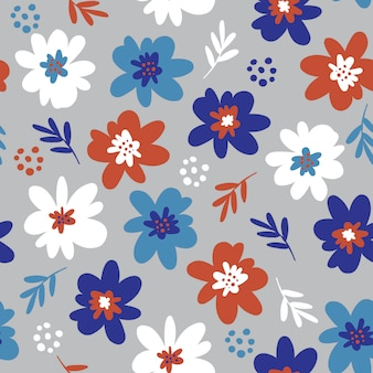 Cute hand drawn flower small of floral seamless pattern.
