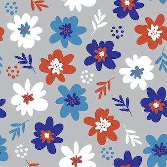 花のシームレスなパターンの小さな手描きの花。