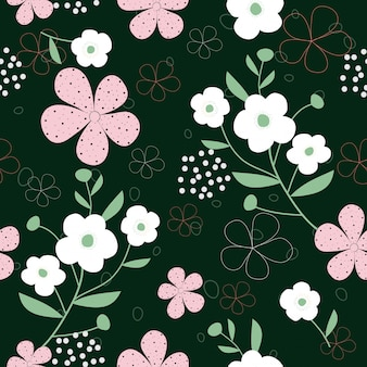 Cute hand drawn flowers seamless pattern background